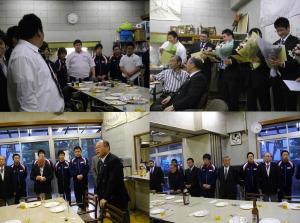 現役(学生)OB会からのお願い。鶴田 正幸 会長「下段写真) 「上段聞き入る学生」。 右「上段」新成人を祝うOB会   祝い金と花束贈呈。